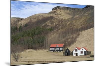 Traditional Turf Half Underground Houses and Old School from the Last Century Near Skogafoss-Natalie Tepper-Mounted Photo