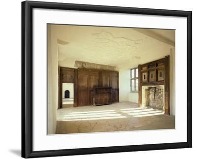 Interior View of the First Floor Room in the Tudor Mansion, Helmsley Castle, North Yorkshire, UK-English Heritage-Framed Photo