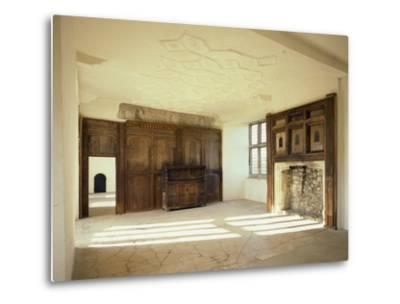 Interior View of the First Floor Room in the Tudor Mansion, Helmsley Castle, North Yorkshire, UK-English Heritage-Metal Print