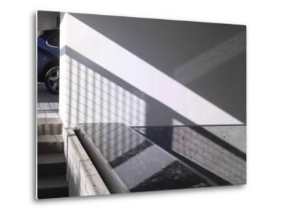 Car Parked at Modern Exterior of Residential House-John Edward Linden-Metal Print