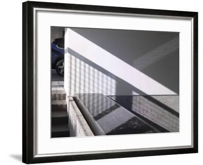 Car Parked at Modern Exterior of Residential House-John Edward Linden-Framed Photo