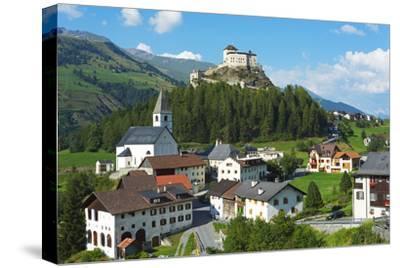 Europe, Switzerland, Graubunden, Engadine, Scuol Tarasp, Scuol Castle, (Schloss Tarasp)-Christian Kober-Stretched Canvas Print