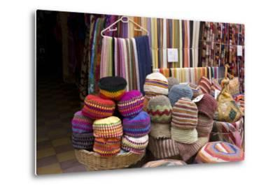 Fabrics, Tapestries, Cushions and Knitted Hats for Sale in the Souk, Essaouira, Morocco-Natalie Tepper-Metal Print
