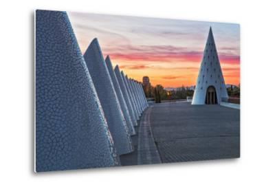 Sunset View of Umbracle Adjacent to El Palau De Les Arts Reina Sofia, City of Arts and Sciences-Cahir Davitt-Metal Print