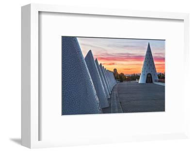 Sunset View of Umbracle Adjacent to El Palau De Les Arts Reina Sofia, City of Arts and Sciences-Cahir Davitt-Framed Photographic Print