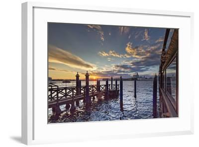 Cip's Club Restaurant and Mooring of the 5 Star Hotel Cipriani, at Sunset-Cahir Davitt-Framed Photographic Print