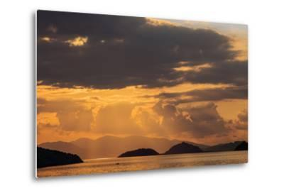 Indonesia, Lesser Sunda Islands, Rinca. Sunset over Komodo Island.-Nigel Pavitt-Metal Print