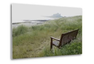 Coast Looking South with the Silhouette of Bamburgh Castle on the Horizon Bamburgh England-Natalie Tepper-Metal Print