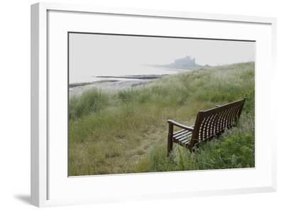 Coast Looking South with the Silhouette of Bamburgh Castle on the Horizon Bamburgh England-Natalie Tepper-Framed Photo