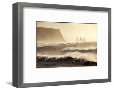 Iceland, Reynisfjara. Waves Breaking on Reynisfjara Beach-Katie Garrod-Framed Photographic Print