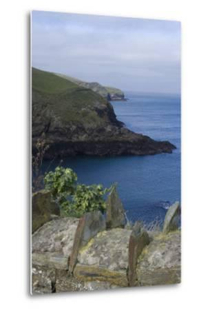 Stone Wall Overlooking the Harbour, Port Isaac, Cornwall, UK-Natalie Tepper-Metal Print