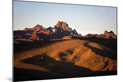 Kenya, Mount Kenya, Rutundu. Mount Kenya at Sunrise from the Northeast.-Nigel Pavitt-Mounted Photographic Print