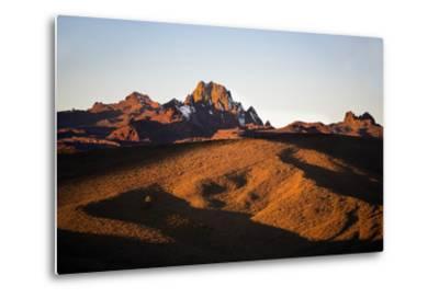 Kenya, Mount Kenya, Rutundu. Mount Kenya at Sunrise from the Northeast.-Nigel Pavitt-Metal Print