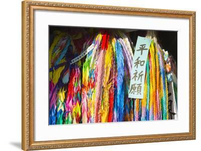Asia, Japan, Kyushu, Nagasaki, Peace Park, Peace Cranes in Memory 1945 Atomic Bomb Victims-Christian Kober-Framed Photographic Print