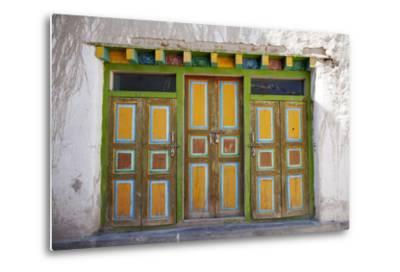 Nepal, Mustang, Lo Manthang. Brightly Painted Doors in the Ancient Capital of Lo Manthang.-Katie Garrod-Metal Print