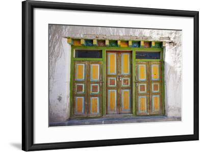 Nepal, Mustang, Lo Manthang. Brightly Painted Doors in the Ancient Capital of Lo Manthang.-Katie Garrod-Framed Photographic Print