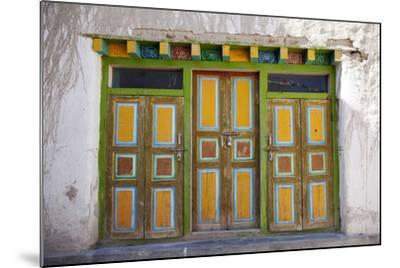 Nepal, Mustang, Lo Manthang. Brightly Painted Doors in the Ancient Capital of Lo Manthang.-Katie Garrod-Mounted Photographic Print