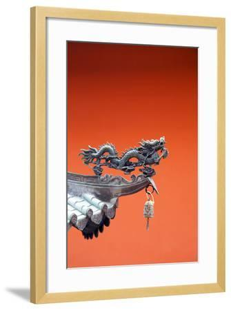 South East Asia, Singapore, Thian Hock Keng Temple, Detail of Dragon Sculpture-Christian Kober-Framed Photographic Print