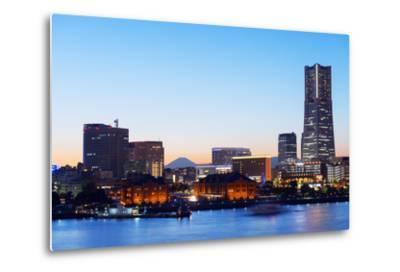 Asia, Japan, Honshu, Yokohama Bay, City Skyline and Mt Fuji, Landmark Tower-Christian Kober-Metal Print