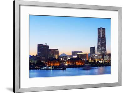 Asia, Japan, Honshu, Yokohama Bay, City Skyline and Mt Fuji, Landmark Tower-Christian Kober-Framed Photographic Print