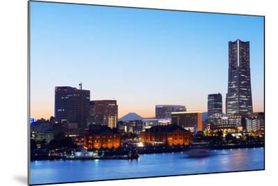 Asia, Japan, Honshu, Yokohama Bay, City Skyline and Mt Fuji, Landmark Tower-Christian Kober-Mounted Photographic Print