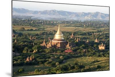 The Golden Stupa of Dhammayazika Pagoda Amongst Some Other Terracotta Buddhist Temples in Bagan-Annie Owen-Mounted Photographic Print