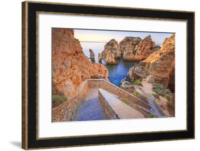 Soft Colors of Dawn on the Red Cliffs of Ponta Da Piedade, Lagos, Algarve, Portugal, Europe-Roberto Moiola-Framed Photographic Print