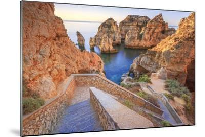Soft Colors of Dawn on the Red Cliffs of Ponta Da Piedade, Lagos, Algarve, Portugal, Europe-Roberto Moiola-Mounted Photographic Print