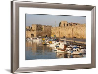 View across Tranquil Kolona Harbour to the City Walls, Dodecanese Islands-Ruth Tomlinson-Framed Photographic Print