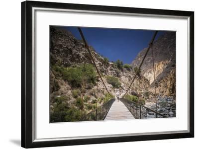 People Trekking over Colca River Bridge, Colca Canyon, Peru, South America-Matthew Williams-Ellis-Framed Photographic Print