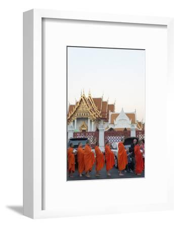 Monks Collecting Morning Alms, the Marble Temple (Wat Benchamabophit), Bangkok, Thailand-Christian Kober-Framed Photographic Print