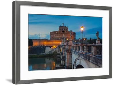 Mausoleum of Hadrian (Castel Sant'Angelo), Ponte Sant'Angelo, Tiber River, Rome, Lazio, Italy-Nico Tondini-Framed Photographic Print