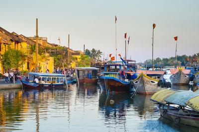 Boats on the Thu Bon River at Sunset, Hoi An, Quang Nam Province, Vietnam, Indochina-Jason Langley-Framed Photographic Print