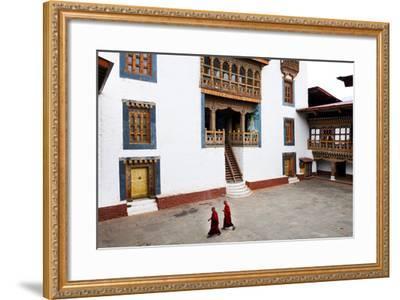 Monks Walking Through the Courtyard of Punakha Dzong, Punakha District, Bhutan, Asia-Jordan Banks-Framed Photographic Print