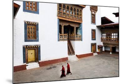 Monks Walking Through the Courtyard of Punakha Dzong, Punakha District, Bhutan, Asia-Jordan Banks-Mounted Photographic Print