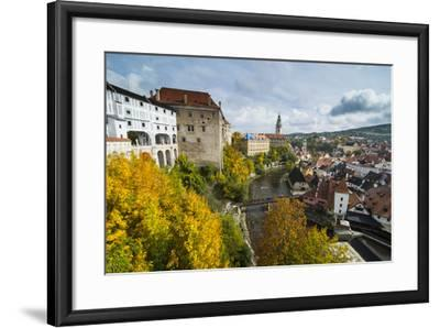 View over Cesky Krumlov and the Vltava River, UNESCO World Heritage Site, Czech Republic, Europe-Michael Runkel-Framed Photographic Print