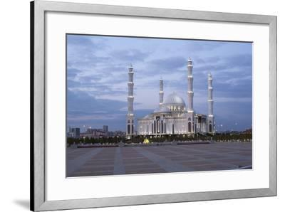 Hazrat Sultan Mosque, the Largest in Central Asia, at Dusk, Astana, Kazakhstan, Central Asia-Gavin Hellier-Framed Photographic Print