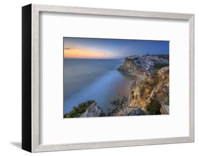The Soft Colors of Twilight Frame the Ocean and the Village of Azenhas Do Mar, Sintra, Portugal-Roberto Moiola-Framed Photographic Print