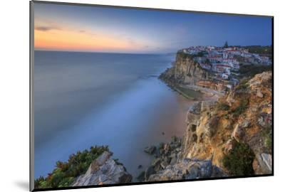 The Soft Colors of Twilight Frame the Ocean and the Village of Azenhas Do Mar, Sintra, Portugal-Roberto Moiola-Mounted Photographic Print