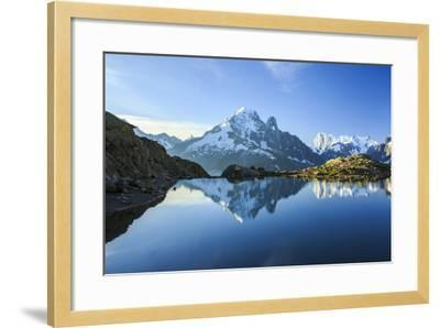 The Snowy Peaks of Mont Blanc are Reflected in the Blue Water of Lac Blanc at Dawn, France-Roberto Moiola-Framed Photographic Print