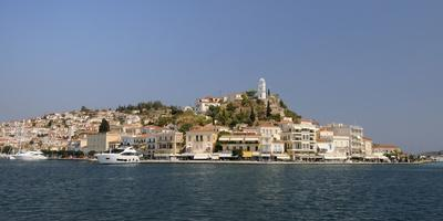 Poros Town and Harbour Viewed from the Sea, Poros Island, Attica, Peloponnese, Greece, Europe-Nick Upton-Framed Photographic Print