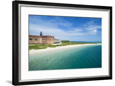 Turquoise Waters and White Sand Beach in Front of Fort Jefferson, Florida Keys, Florida-Michael Runkel-Framed Photographic Print