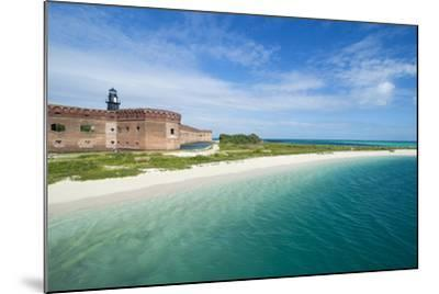 Turquoise Waters and White Sand Beach in Front of Fort Jefferson, Florida Keys, Florida-Michael Runkel-Mounted Photographic Print