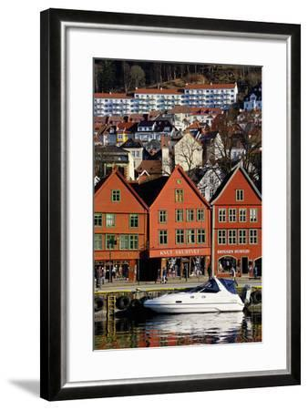 Traditional Wooden Hanseatic Merchants Buildings of the Bryggen, Bergen, Norway, Scandinavia-Robert Harding-Framed Photographic Print