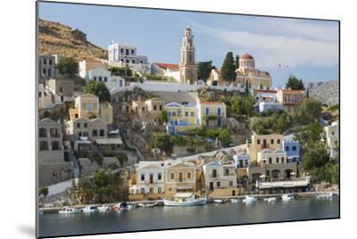 View over Harbour to Colourful Houses and Church, Dodecanese Islands-Ruth Tomlinson-Mounted Photographic Print