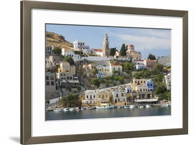 View over Harbour to Colourful Houses and Church, Dodecanese Islands-Ruth Tomlinson-Framed Photographic Print