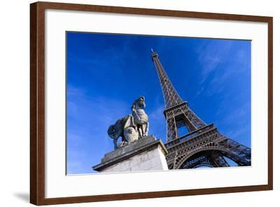 Horse Sculpture on Lena Bridge Near to Eiffel Tower in Paris, France, Europe-Peter Barritt-Framed Photographic Print