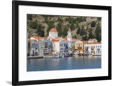 Waterfront Houses and Church, Dodecanese Islands-Ruth Tomlinson-Framed Photographic Print