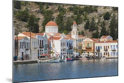 Waterfront Houses and Church, Dodecanese Islands-Ruth Tomlinson-Mounted Photographic Print