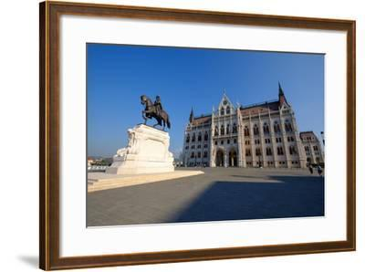 The Hungarian Parliament Building and Statue of Gyula Andressy, Budapest, Hungary, Europe-Carlo Morucchio-Framed Photographic Print